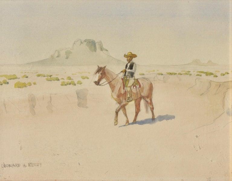 Paper Leonard Howard Reedy in the Arroyo Drawing-Watercolor For Sale