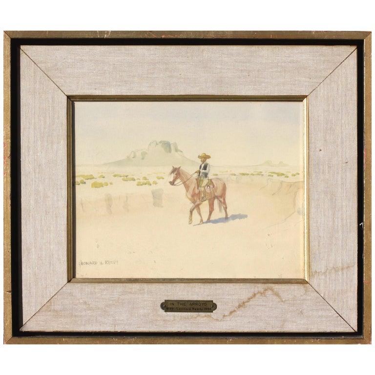 Leonard Howard Reedy in the Arroyo Drawing-Watercolor For Sale