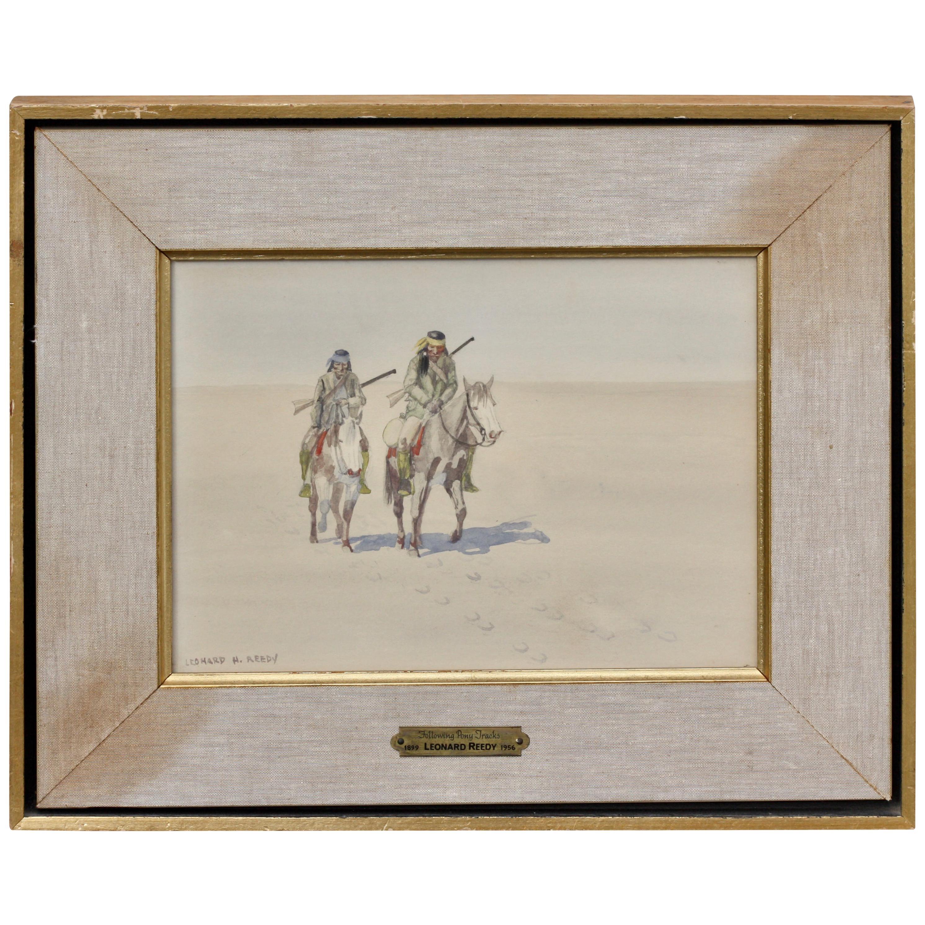 Leonard Howard Reedy Following Pony Tracks Drawing-Watercolor