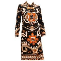 Leonard Kilim Velveteen Dress 1960s