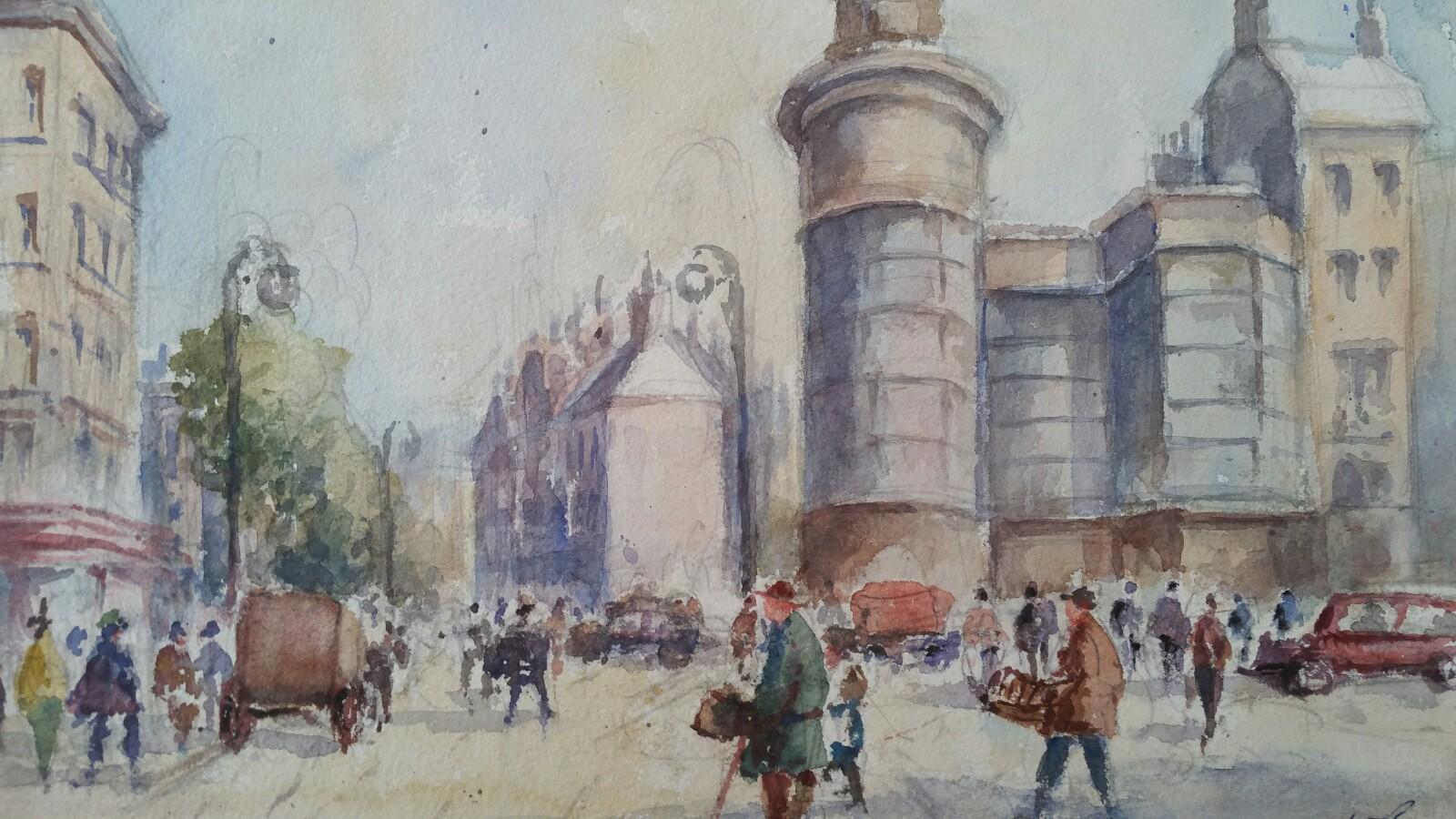 Mid 20th Century, Belgium, A Brussels Street Scene