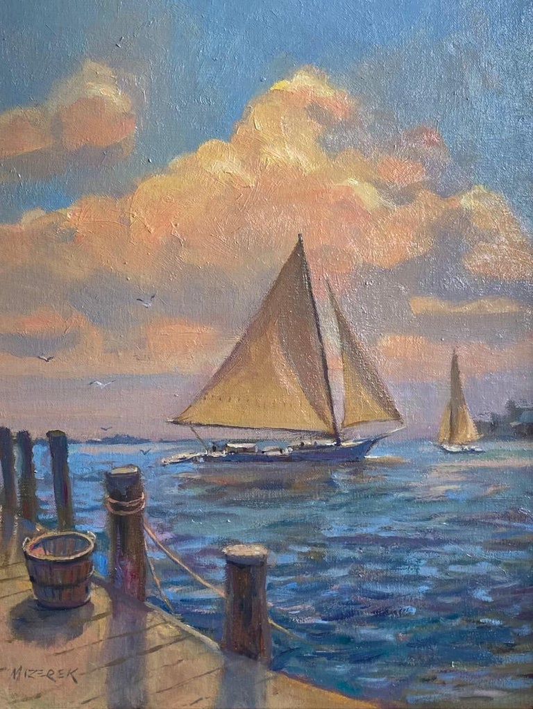 Afternoon Sail, original marine landscape - Painting by Leonard Mizerek