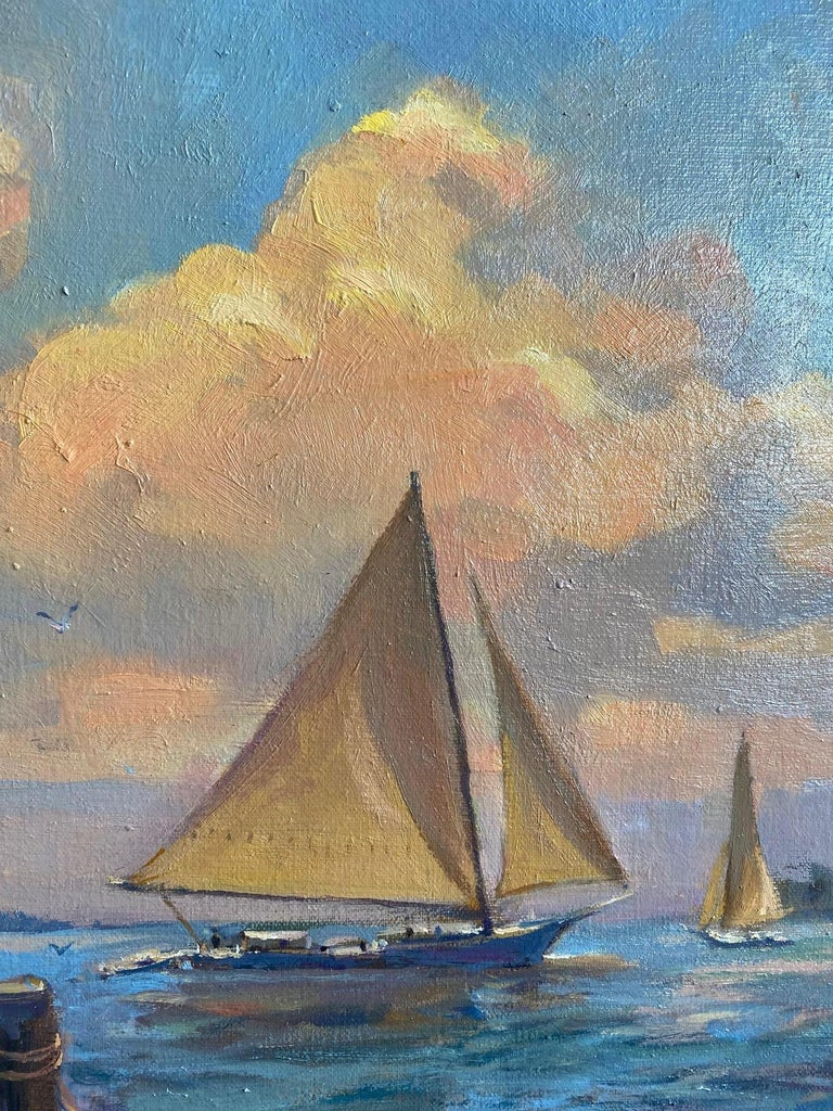 Afternoon Sail, original marine landscape - Impressionist Painting by Leonard Mizerek