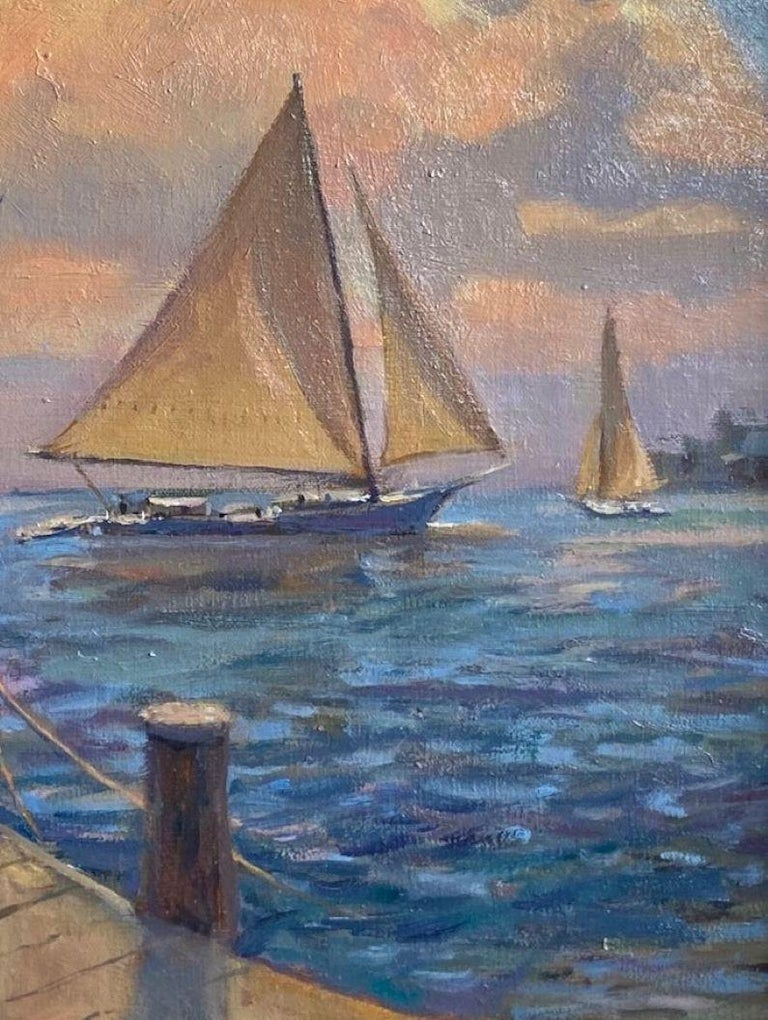 Afternoon Sail, original marine landscape For Sale 2