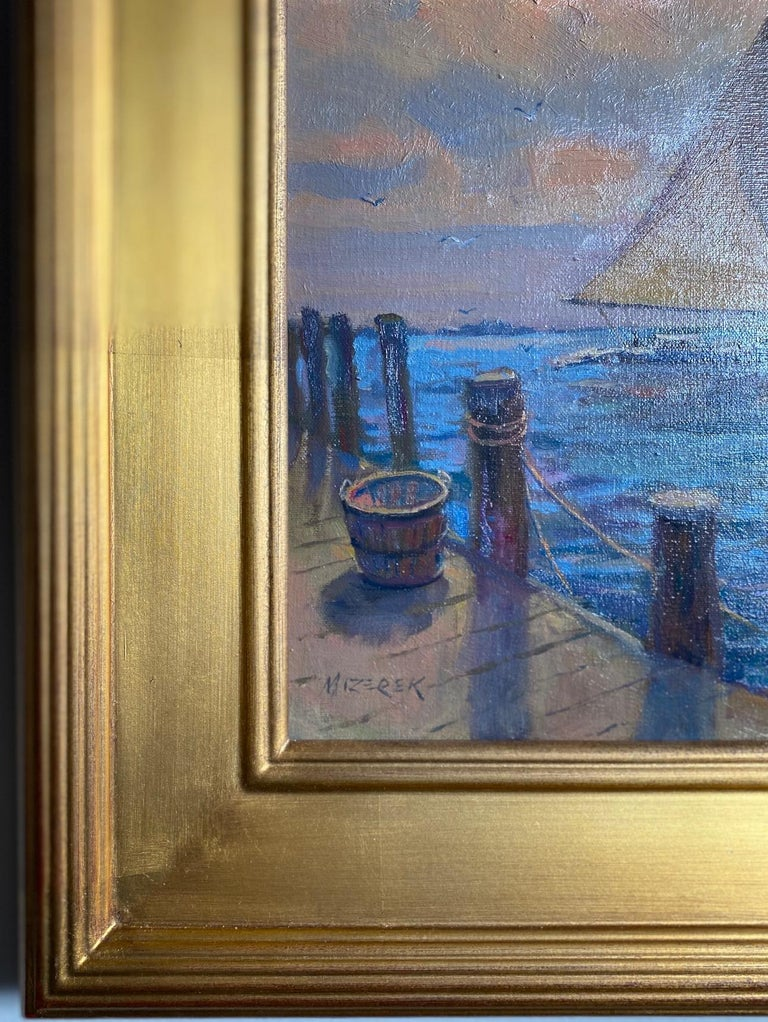 Afternoon Sail, original marine landscape For Sale 3