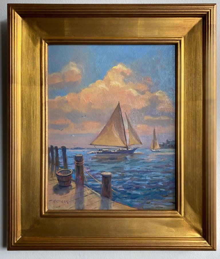 Leonard Mizerek Landscape Painting - Afternoon Sail, original marine landscape