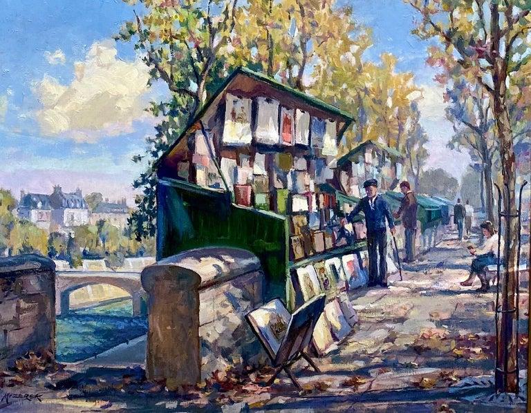 Book Stalls of Paris, original French impressionist landscape - Painting by Leonard Mizerek