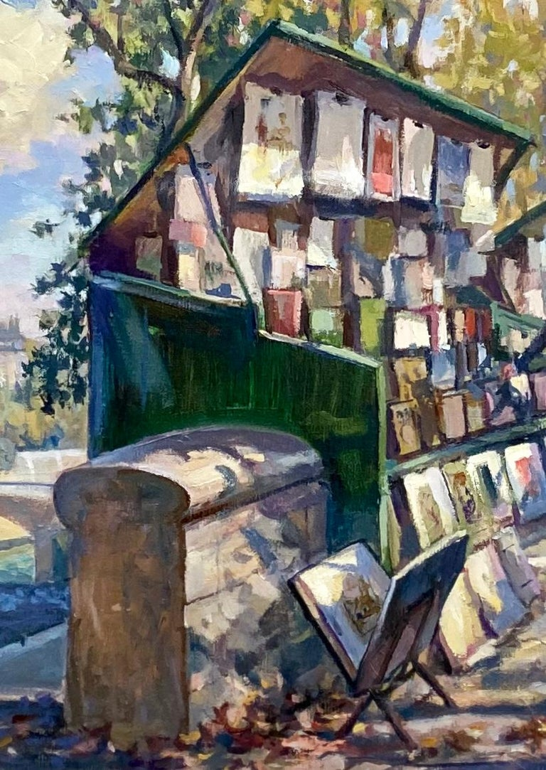Book Stalls of Paris, original French impressionist landscape - Impressionist Painting by Leonard Mizerek