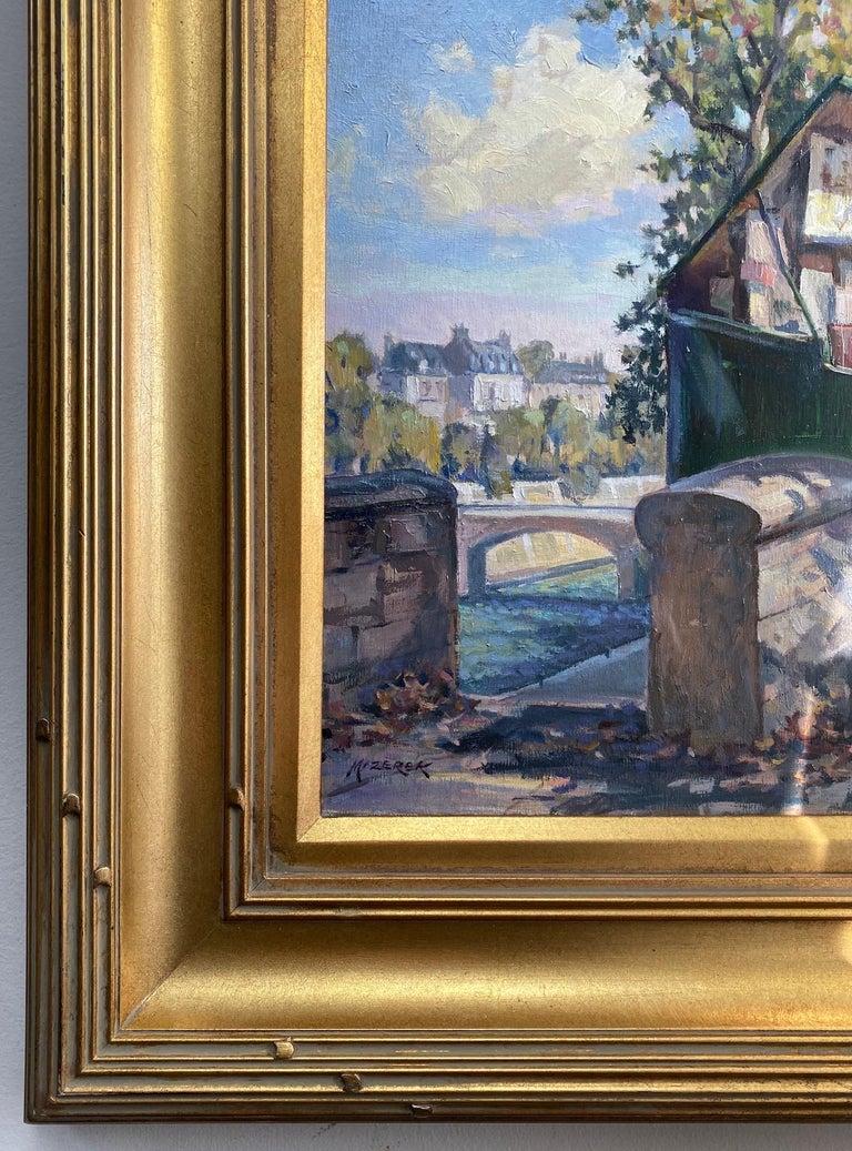 Book Stalls of Paris, original French impressionist landscape - Brown Landscape Painting by Leonard Mizerek