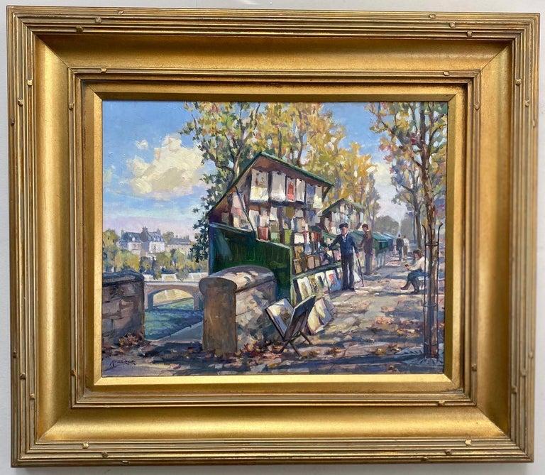 Leonard Mizerek Landscape Painting - Book Stalls of Paris, original French impressionist landscape