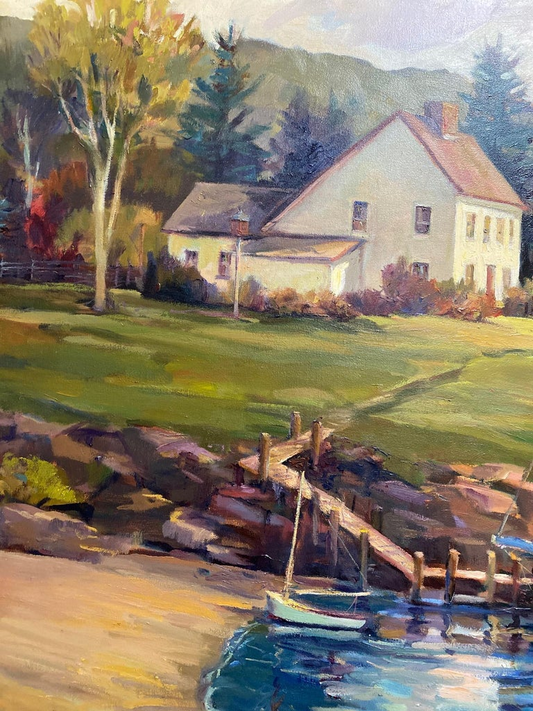 Hidden Cove, original 40x60  impressionist marine landscape of New England - Brown Landscape Painting by Leonard Mizerek