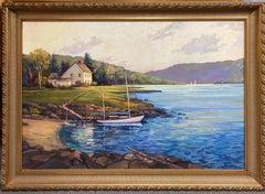 Hidden Cove, original 40x60  impressionist marine landscape of New England