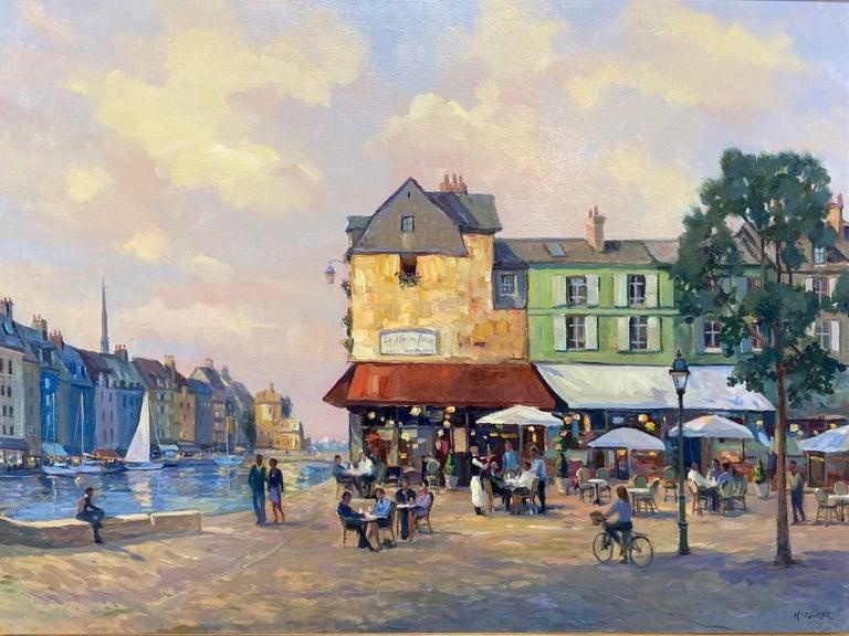Honfleur Cafe, original 30x40 French Impressionist marine landscape - Painting by Leonard Mizerek
