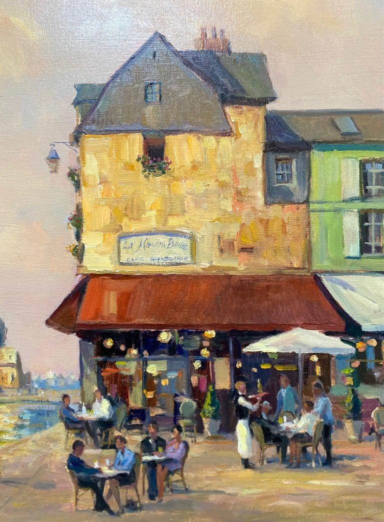 Honfleur Cafe, original 30x40 French Impressionist marine landscape - Brown Landscape Painting by Leonard Mizerek