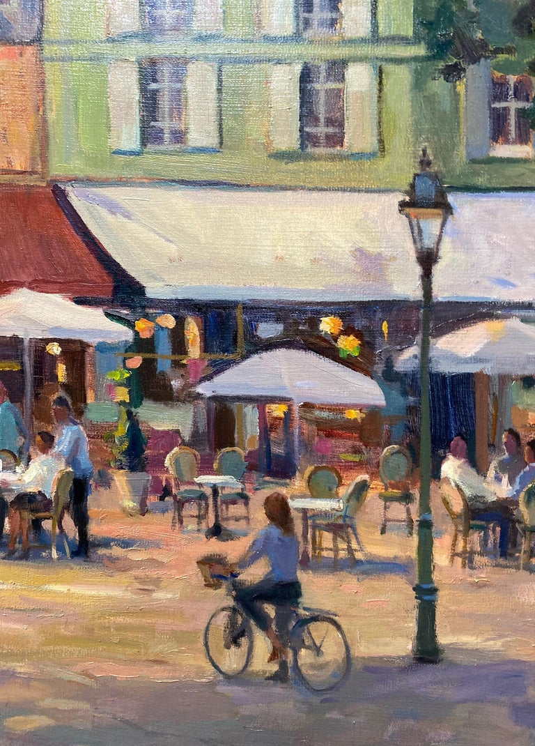 Honfleur Cafe, original 30x40 French Impressionist marine landscape For Sale 1