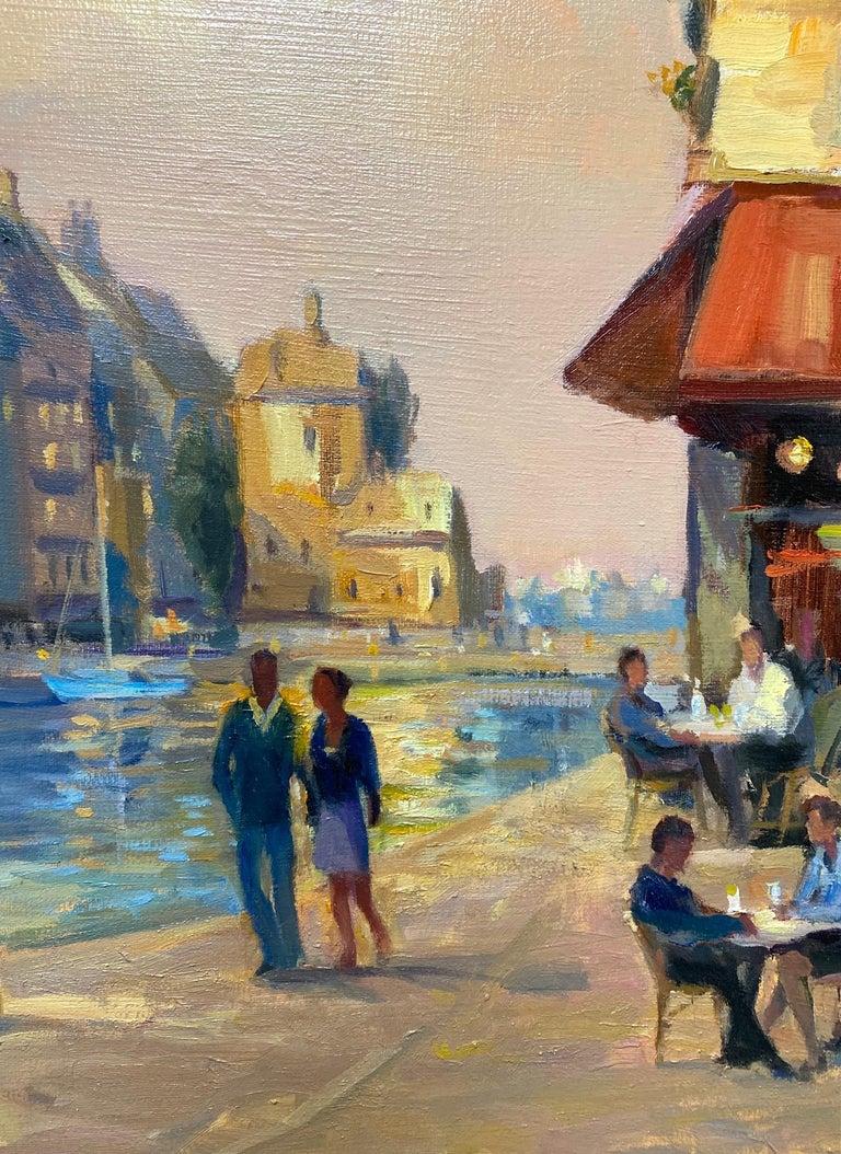 Honfleur Cafe, original 30x40 French Impressionist marine landscape For Sale 2