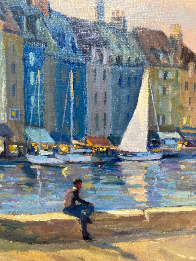 Honfleur Cafe, original 30x40 French Impressionist marine landscape For Sale 3