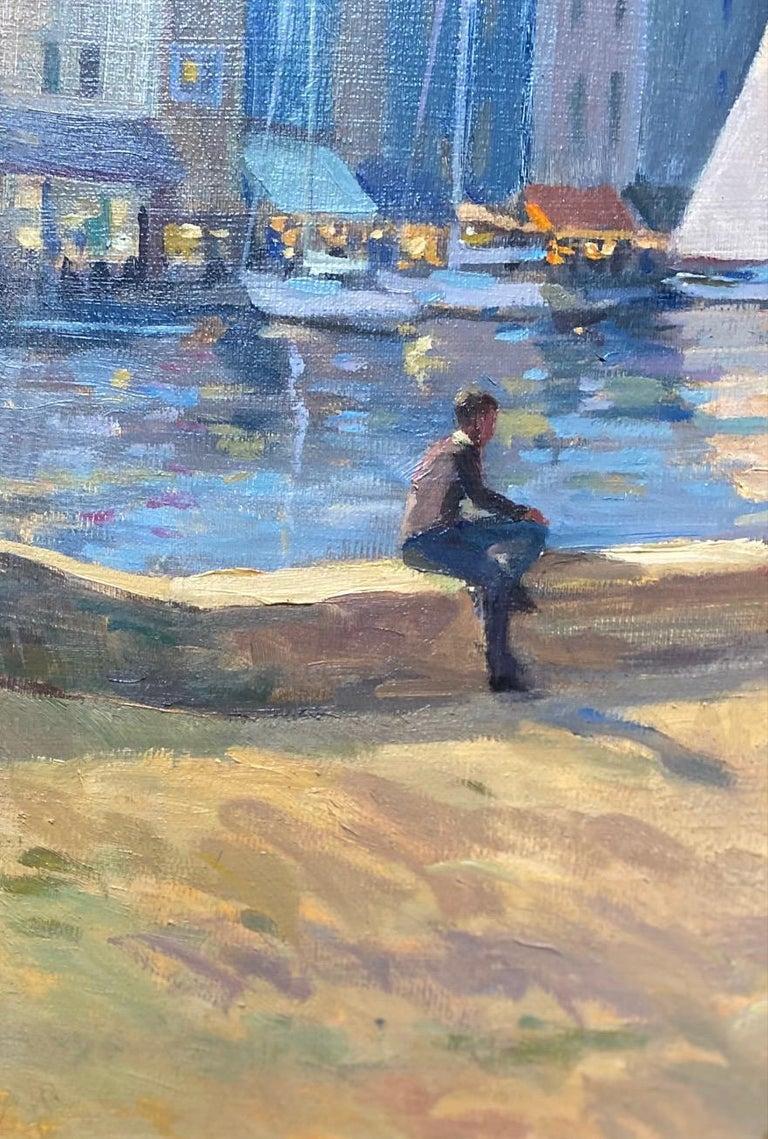 Honfleur Cafe, original 30x40 French Impressionist marine landscape For Sale 4
