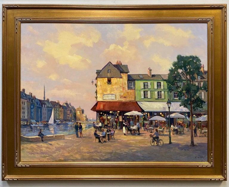 Leonard Mizerek Landscape Painting - Honfleur Cafe, original 30x40 French Impressionist marine landscape