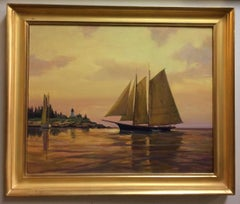 Nearing Burnt Island, original 24x30 impressionist marine landscape