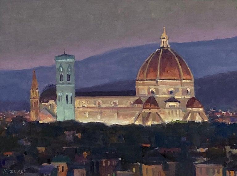 Nightfall in Florence, original Italian landscape - Painting by Leonard Mizerek