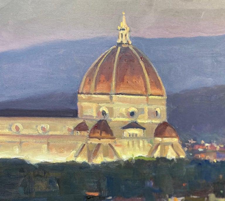 Nightfall in Florence, original Italian landscape - Impressionist Painting by Leonard Mizerek