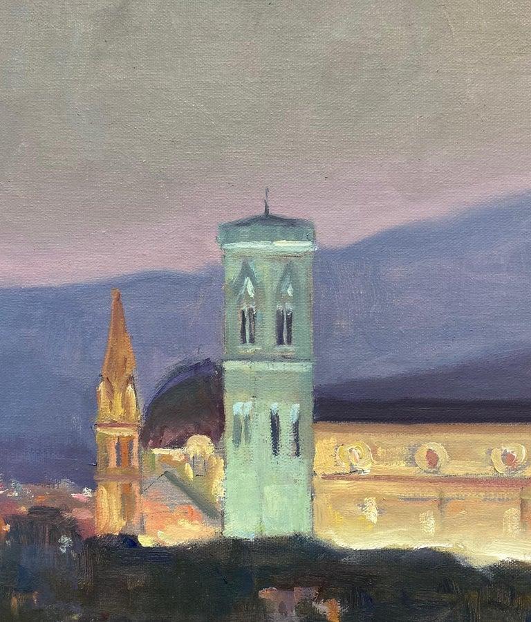 Nightfall in Florence, original Italian landscape - Brown Landscape Painting by Leonard Mizerek