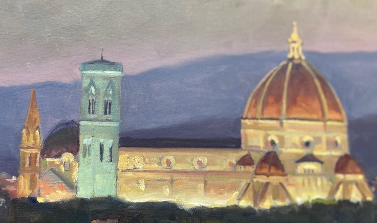 Florence, Italy, still one of the great art centers of Europe, glows at sunset in this impressionist Italian landscape.  Painted en plein air,  artist Leonard Mizerek at once creates a stillness that's blanketed with a sense of wonder.  As Florence