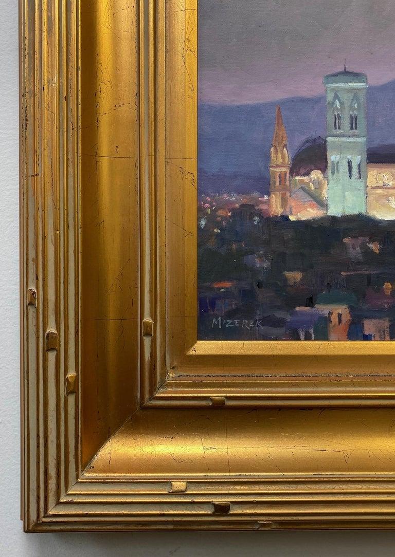 Nightfall in Florence, original Italian landscape For Sale 1