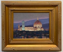 Nightfall in Florence, original Italian landscape