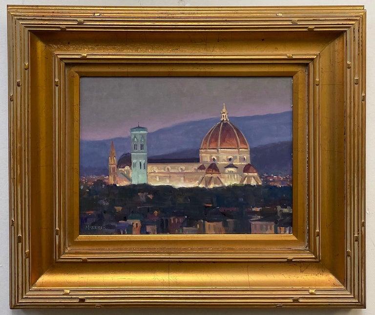 Leonard Mizerek Landscape Painting - Nightfall in Florence, original Italian landscape