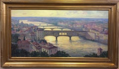 Ponte Vecchio at Twilight, Florence, Italy, original impressionist landscape