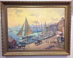 Pratt Street, Baltimore Harbor c 1900, original 36x48 marine landscape