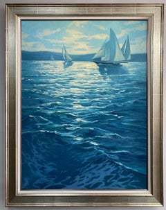 Sparklling Waters, original 48x36 contemporary impressionist marine landscape