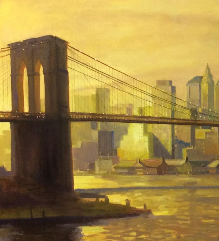 Sunset at the Brooklyn Bridge, NYC original 36x60 impressionist landscape - Impressionist Painting by Leonard Mizerek
