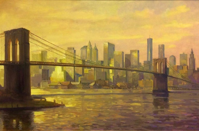 Sunset at the Brooklyn Bridge, NYC original 36x60 impressionist landscape - Painting by Leonard Mizerek