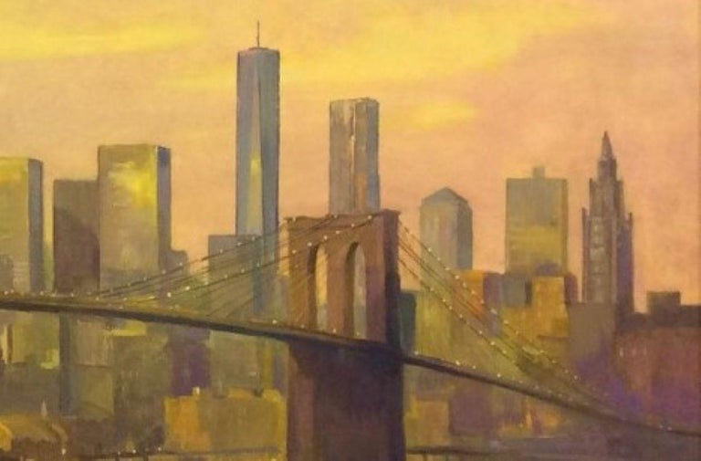 Sunset at the Brooklyn Bridge, NYC original 36x60 impressionist landscape - Brown Landscape Painting by Leonard Mizerek