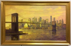 Sunset at the Brooklyn Bridge, NYC original 36x60 impressionist landscape