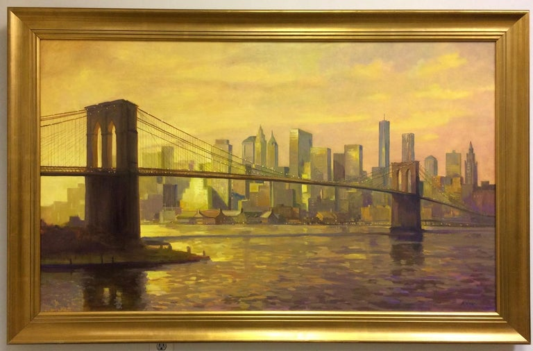 Leonard Mizerek Landscape Painting - Sunset at the Brooklyn Bridge, NYC original 36x60 impressionist landscape