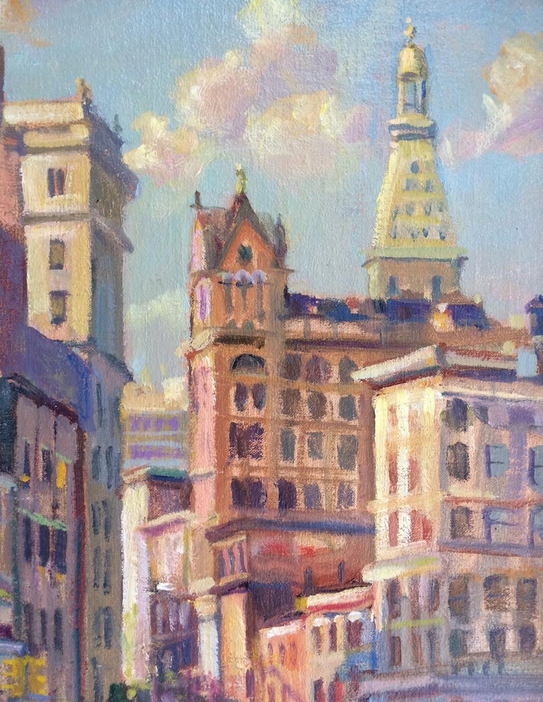 Afternoon in Union Square, original impressionist oil painting of New York City - Painting by Leonard Mizerek
