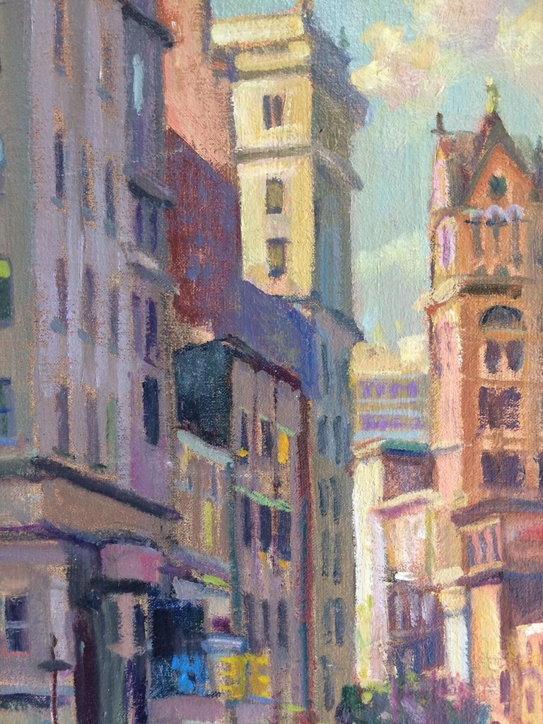 Afternoon in Union Square, original impressionist oil painting of New York City - Impressionist Painting by Leonard Mizerek