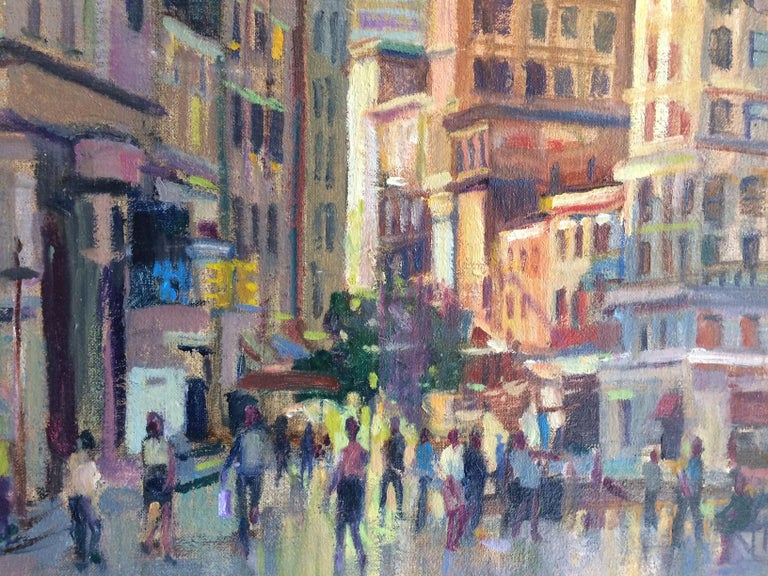 Afternoon in Union Square, original impressionist oil painting of New York City - Gray Figurative Painting by Leonard Mizerek