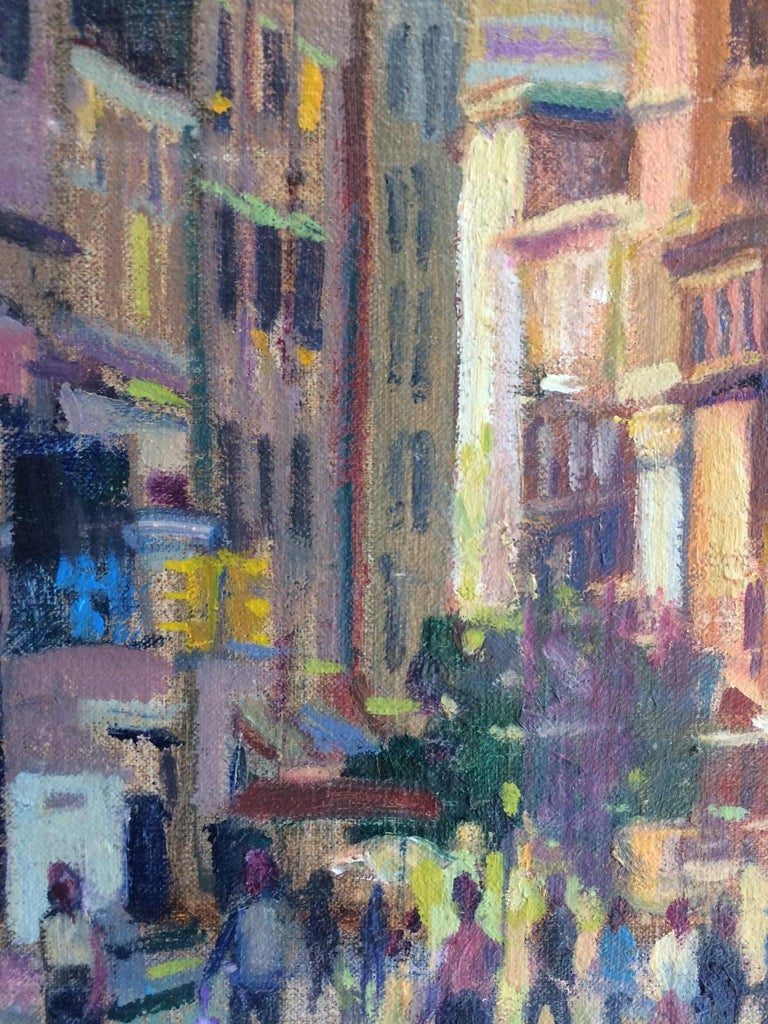 Sunset in Union Square conjures up an endless array of memories from breakfast at Coffee Shop to relaxing in the park with a friend.  This original oil painting   by Leonard Mizerek captures the hustle and bustle and excitement that is Union Square,