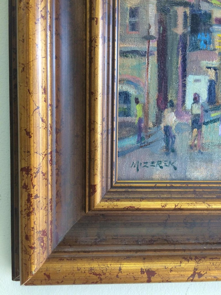 Afternoon in Union Square, original impressionist oil painting of New York City For Sale 1