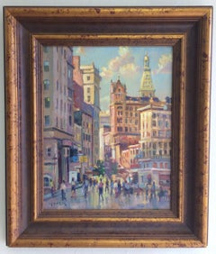 Afternoon in Union Square, original impressionist oil painting of New York City