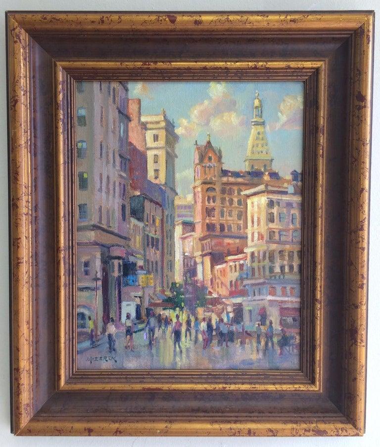 Leonard Mizerek Figurative Painting - Afternoon in Union Square, original impressionist oil painting of New York City