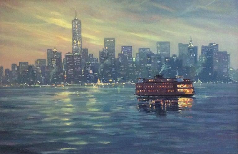 The Crossing, Staten Island Ferry NYC original 24x36 impressionist landscape - Painting by Leonard Mizerek