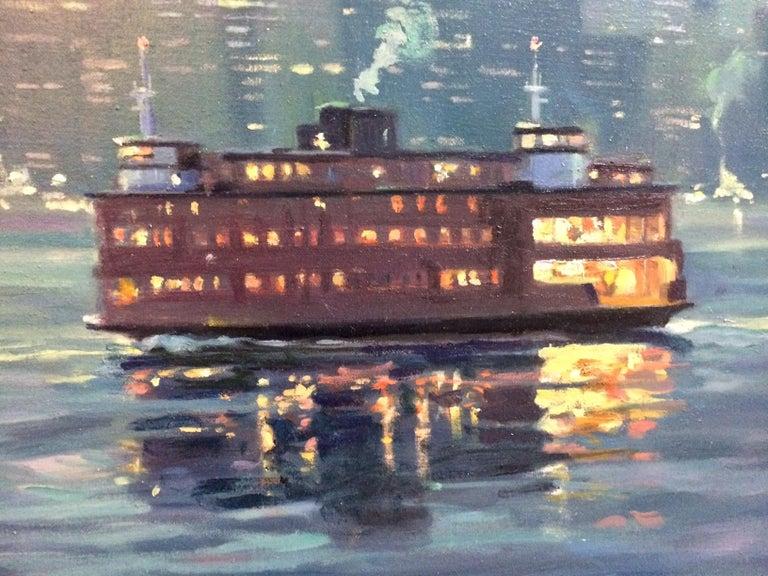 The Crossing, Staten Island Ferry NYC original 24x36 impressionist landscape - Impressionist Painting by Leonard Mizerek