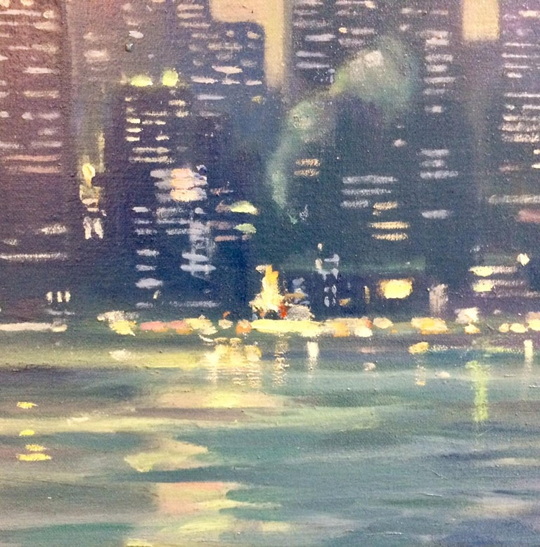 The Crossing, Staten Island Ferry NYC original 24x36 impressionist landscape For Sale 1