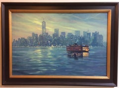 The Crossing, Staten Island Ferry NYC original 24x36 impressionist landscape